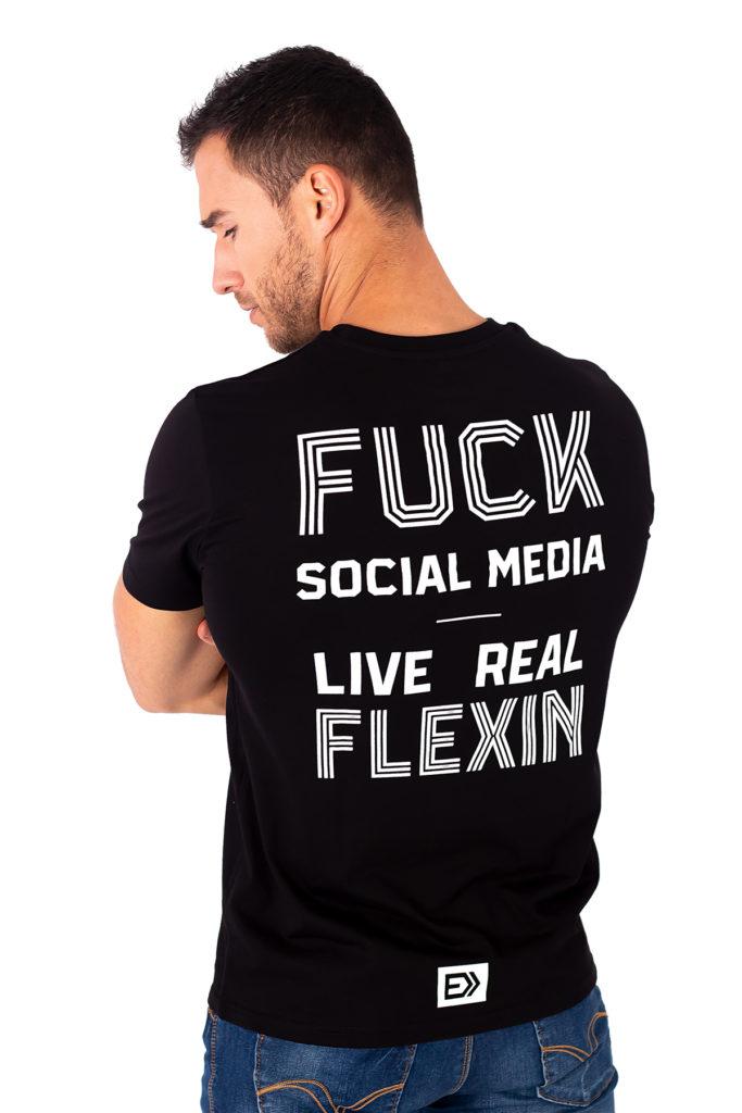 Pánské tričko REAL FLEXIN černé zezadu