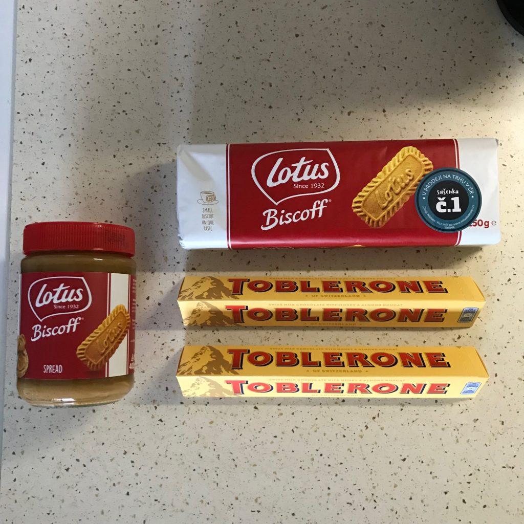 Ingredience na čokoládové tyčinky Lotus Biscoff Toblerone