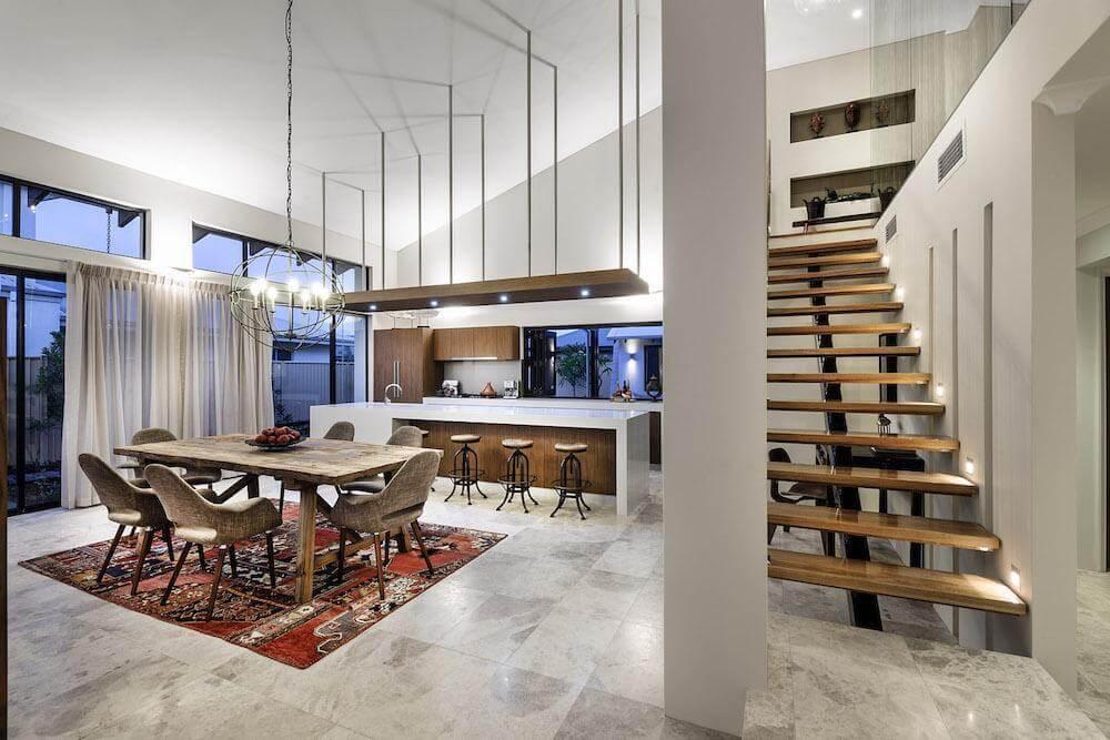 Designové pojetí interiéru snoubí kombinaci různých materiálů