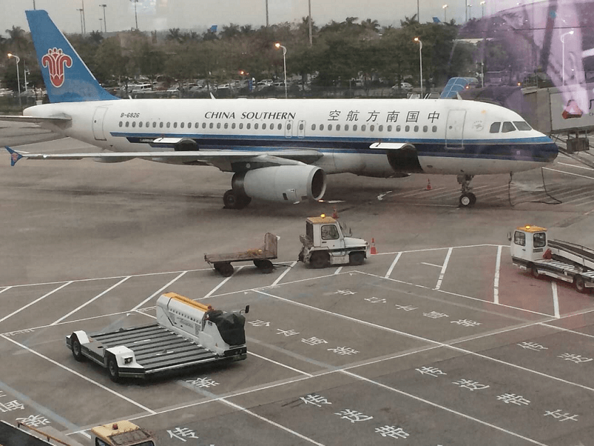 Přestup na další letadlo v Číně