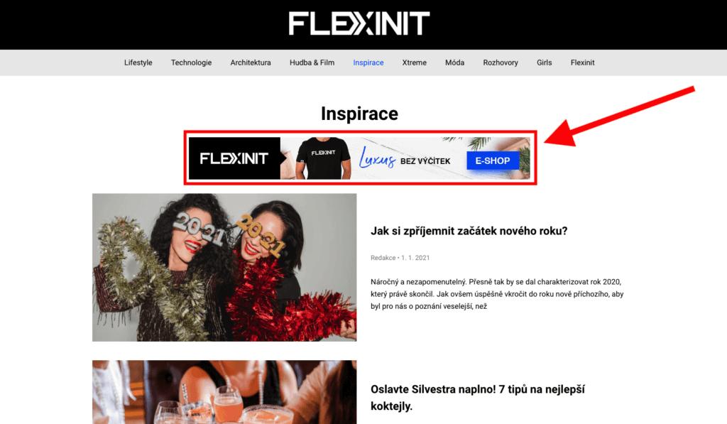 Banner v rubrice na Flexinit.cz