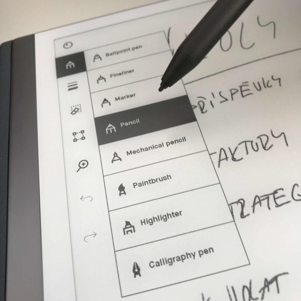 Remarkable 2 - menu psacích potřeb 2
