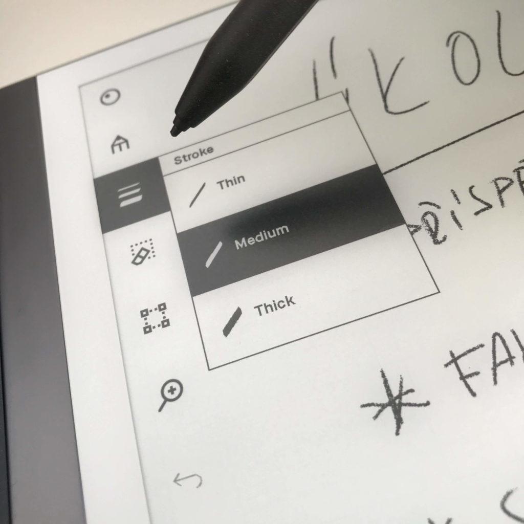 Remarkable 2 - menu psacích potřeb